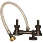 Double Blast Bottle Washer - attaches to a standard utility sink or garden hose faucet